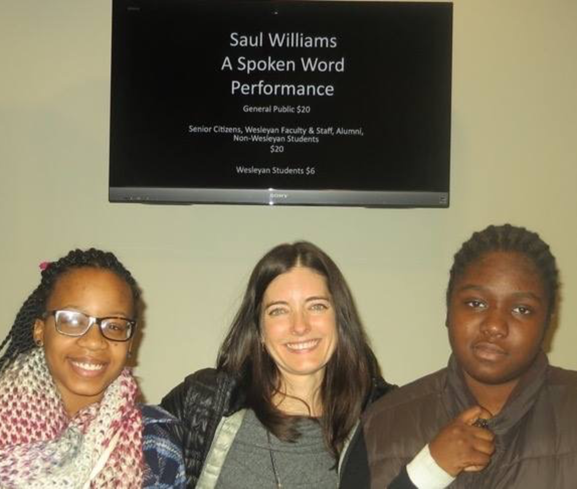 Schmidt (center), celebrates the publication of two poems by Ascend scholars, Leah Matthias (left) and Lewisha Wright (right).