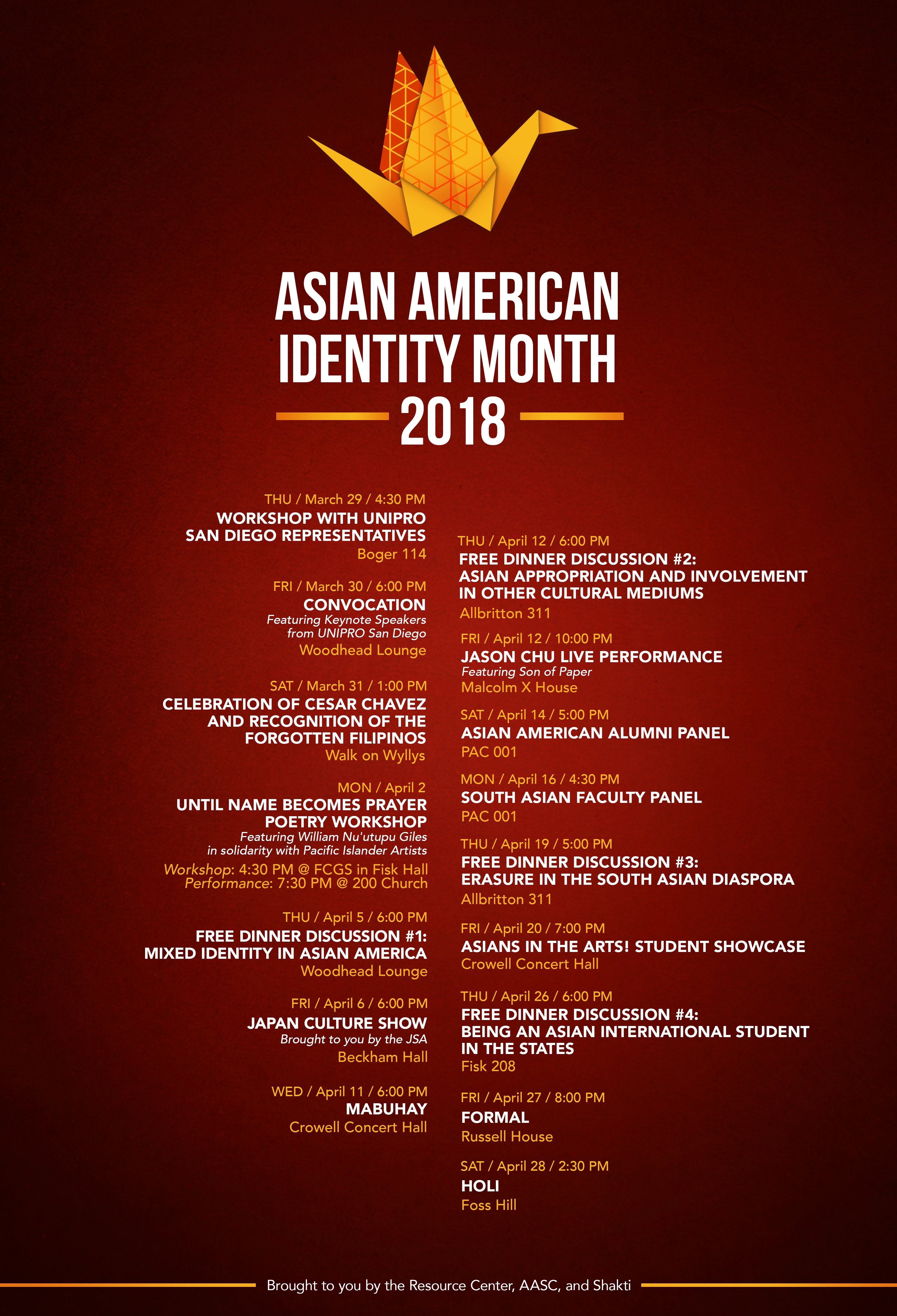 c/o Asian American Student Collective and Shakti