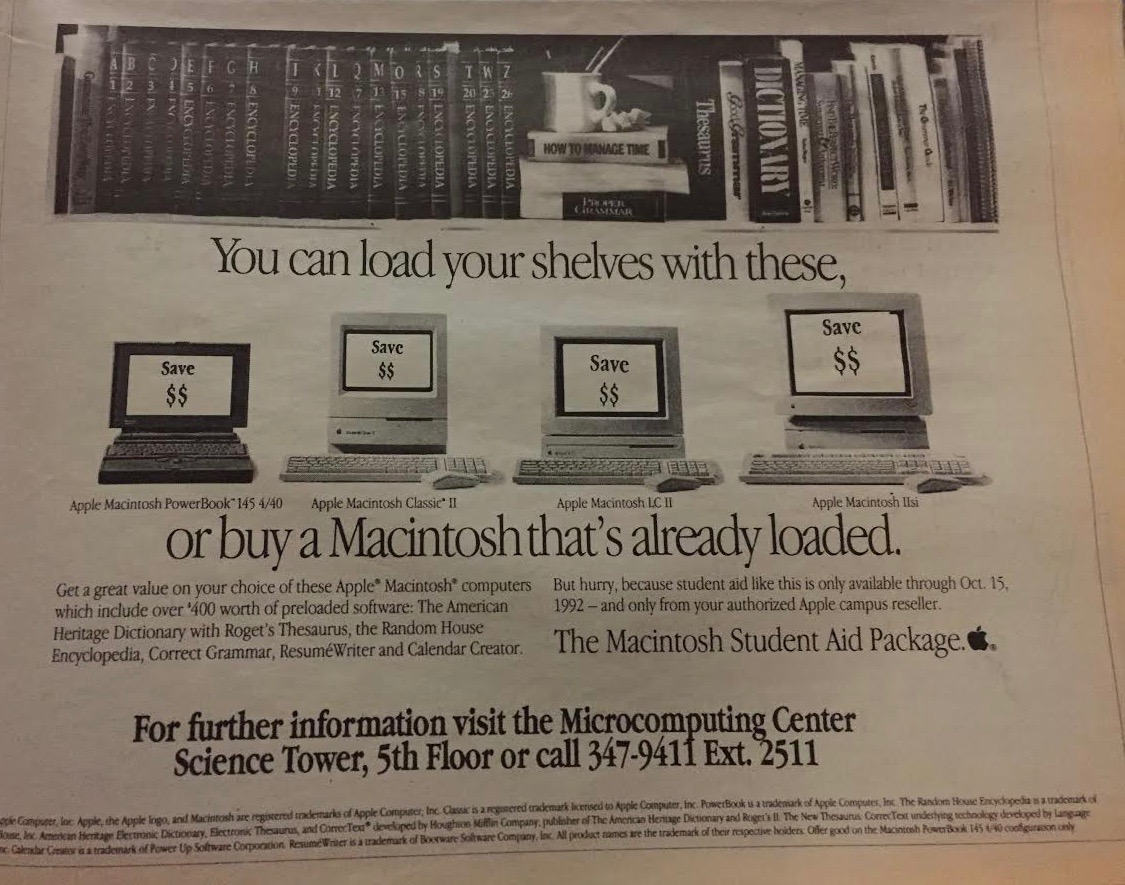 Advertisement in The Argus in 1992