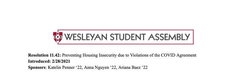 c/o Wesleyan Student Assembly